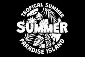 T-shirt tropical summer paradise island leaf retro vintage style vector