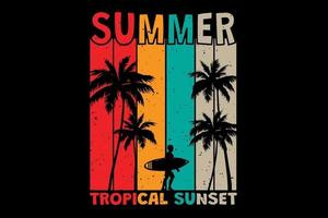T-shirt summer tropical sunset surf retro vintage style vector