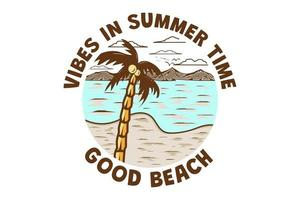 T-shirt vibes in summer time good beach retro vintage style vector