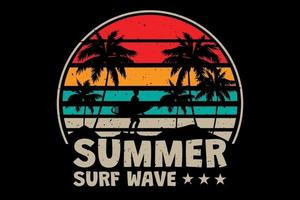 T-shirt summer surf wave beach vintage retro style vector