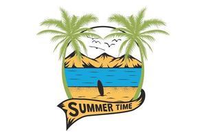 T-shirt summer time beach hand drawn retro vintage style vector