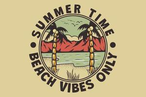 T-shirt summer time beach vibes only hand drawn retro vintage style vector