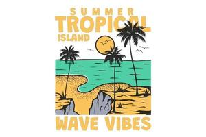 T-shirt summer tropical island wave vibes nature hand drawn vintage retro style vector