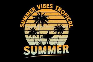 T-shirt summer vibes tropical summer surf beach retro vintage style vector