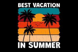 T-shirt best vacation in summer sunset color retro vintage style vector