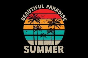 T-shirt beautiful paradise summer palm tree sunset color retro vintage style vector