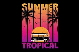T-shirt summer sunset tropical beach retro vintage style vector