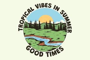 camiseta tropical vibes en verano dibujado a mano estilo retro vintage vector