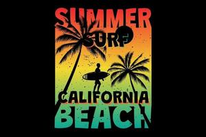 T-shirt summer surf california beach palm retro vintage style vector