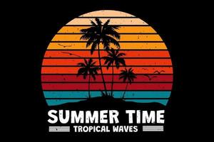 T-shirt summer time tropical waves retro vintage style vector