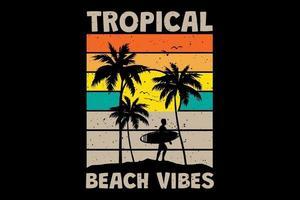 T-shirt tropical beach vibes surf sunset retro vintage style vector