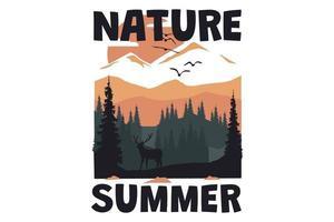 T-shirt nature summer landscape deer hand drawn vintage style vector