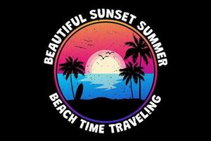 T-shirt beautiful sunset summer beach time traveling retro vintage style vector