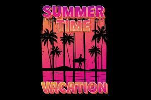 T-shirt summer time vacation surf gradient sunset vintage retro style vector