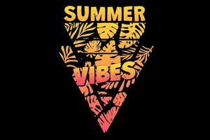 T-shirt summer vibes paradise leaf retro vintage style vector