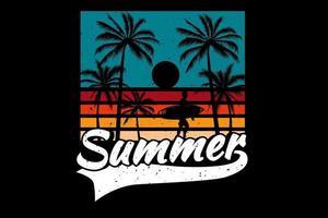 T-shirt summer sunset color beach surf retro vintage style vector