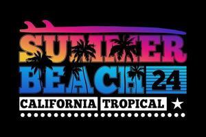 camiseta tipografía verano playa california tropical atardecer hermoso vintage vector