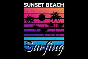 camiseta puesta de sol playa surf hermoso estilo retro vector