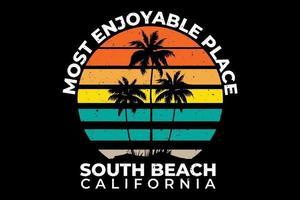 camiseta de la playa del sur de california atardecer estilo retro vintage vector