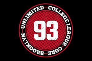 camiseta tipografía brooklyn college league vector