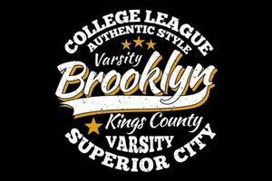 camiseta tipografía brooklyn college league varsity estilo vintage vector
