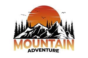 T-shirt mountain adventure sunset vintage style vector