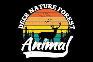 camiseta silueta ciervo pino naturaleza bosque animal vintage estilo retro vector