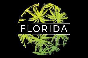 camiseta florida circular palmeras diseño vector