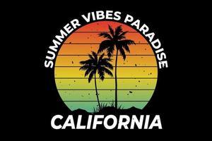 T-shirt california summer vibes paradise retro style vector