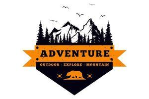 T-shirt adventure outdoor explore mountain vintage style vector