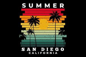 T-shirt summer san diego california beach sunset retro vector