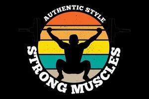 camiseta estilo auténtico músculos fuertes estilo retro vintage vector