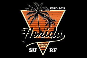 T-shirt florida surf beach retro style vector