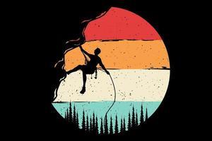 T-shirt mountain climber retro style vector