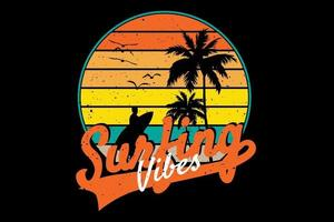 T-shirt surfing vibes retro style vector