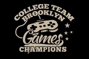 camiseta juegos consola campeones brooklyn tipografía retro estilo vintage vector