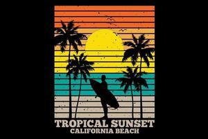 T-shirt tropical sunset california beach retro style vector