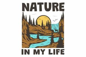 T-shirt retro nature in my life hand drawn vintage style vector