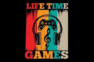T-shirt life time games typography retro vintage style vector