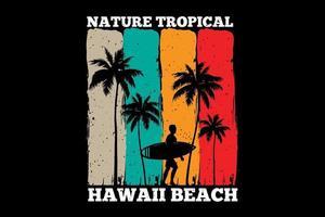 T-shirt nature tropical hawaii beach sunset retro vector
