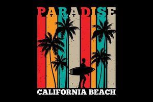 T-shirt silhouette surf paradise california beach retro style vector