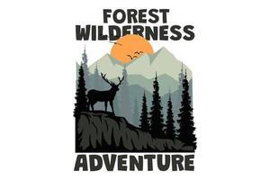 T-shirt forest wilderness adventure deer mountain retro vintage style vector