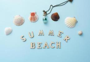 Blue summer beach concept with shells, snail photo