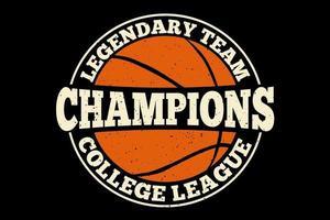 camiseta tipografía campeones legendario liga universitaria estilo vintage vector