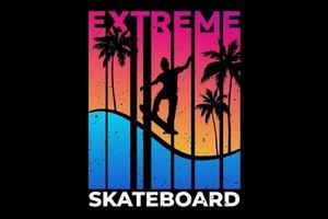 T-shirt extreme skateboard summer sunset retro style vector