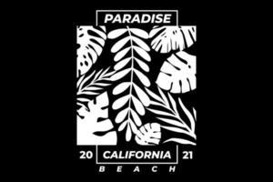 T-shirt typography vintage style paradise california beach vector