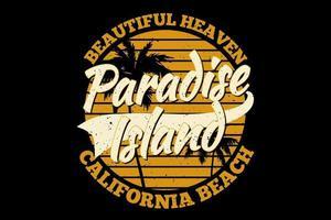 camiseta tipografía isla paradisíaca hermoso cielo california playa estilo vintage vector