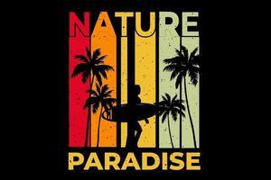 T-shirt nature paradise surf sunset retro vintage style vector