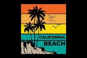 T-shirt california beach sunset retro vintage style vector