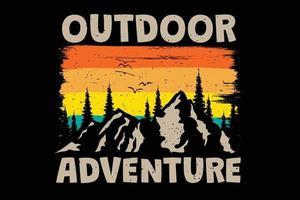 T-shirt outdoor adventure mountain tree retro vintage style vector